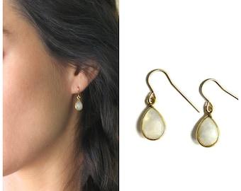 Gem Drop Earrings, Dangle Earrings Stone Choice, 14kt Gold Filled, Bridesmaids Gift, Gift for Her, Dangling Earrings - The Silver Wren