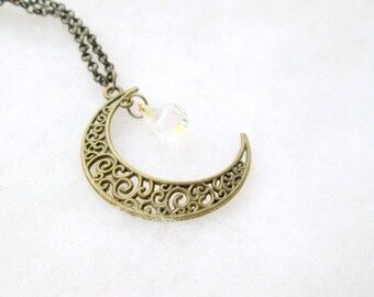 Brass Moon Necklace With Crystal / Moon Phase Necklace / Bronze Moon Necklace / Swarovski Crystal Crescent Moon / Moon With Crystal