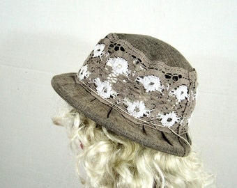 Summer hat, womens hat, linen and lace hat, cotton hat, lace hat, hats for women, sun hat