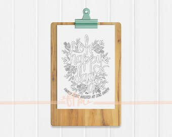 Instant Download - Oh Happy Day with Lyrics Coloring Page