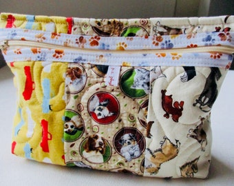 Scrappy Doggy Fabrics Quilted Pouch - All About Dogs Patchwork Pouch