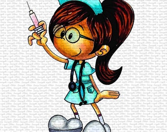 IMAGE #160 - THE NURSE Digital Stamp by Sasayaki Glitter - Naz - both lineart and coloured versions
