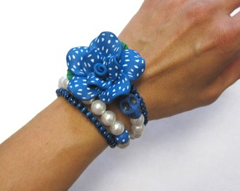 Day Of The Dead Bracelet Sugar Skull Jewelry Wrap Blue White Rose