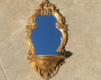 Wall Mirror Vintage Victorian Hollywood Regency Gold Syroco 1970