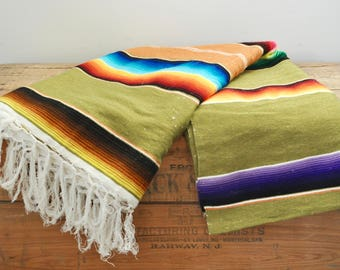 "Vintage Mexican Serape Southwestern Blanket 44"" by 81"" Multi Colored Variegated Stripes Colorful Hand Woven Blankets"