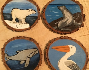 Handpainted arctic coasters