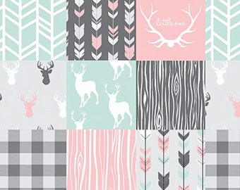 Woodland Baby Quilt, Baby Girl Blanket, Minky Baby Blanket, Deer Woodland Quilt, Girl Deer Quilt, Patchwork Quilt, Pink Mint Antler Arrow