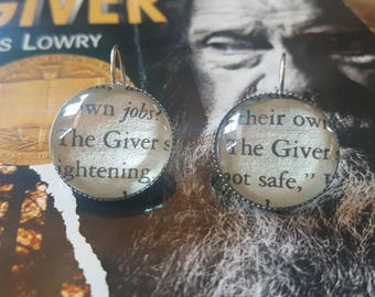 The Giver book page earrings