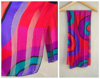 """Vintage 80s scarf / colorful holiday scarf / Jones New York / geometric statement scarf, designer, hand rolled edges / long 50"""""""
