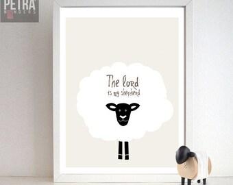 Sheep Nursery Print- Bible verse art- The lord is my shepherd Wall art. Scripture art decor-Nursery/ Children Bedroom/ Playroom art Print.