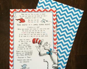 5x7 Chevron Dr. Seuss Gender Reveal Announcement Invitation Boy or Girl
