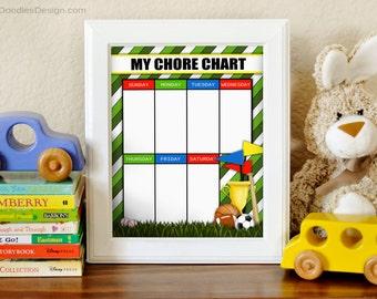 Printable Sports Chore Chart, Boys Chore Chart