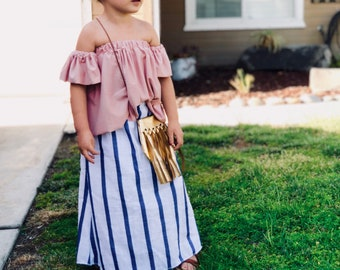 White and blue striped maxi skirt/ toddler maxi skirt/ baby maxi skirt/ long skirt/ boho skirt
