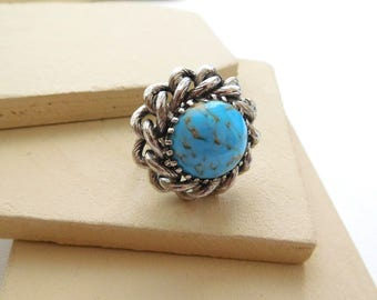 Vintage Howlite Turquoise Silver Tone Chain Design Statement Ring Size 6 B13