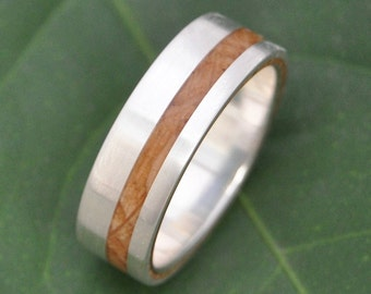 Equinox Bourbon Barrel Oak Wood Ring with Recycled Silver - whiskey barrel wood wedding ring, Kentucky bourbon barrel wedding ring