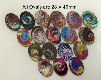 18 X Oval shapes with spiral designs