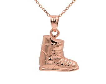 14k Rose Gold Snow Boot Necklace