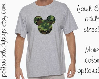 Camo Mickey Mouse Head Disney Trip Shirt Infants Toddlers Youth Adult Sizes Available