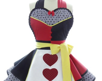 Queen of Hearts Retro Woman's Apron with Sweetheart Neckline + Double Circle Skirts // Alice in Wonderland Pin up Apron by Bambino Amore