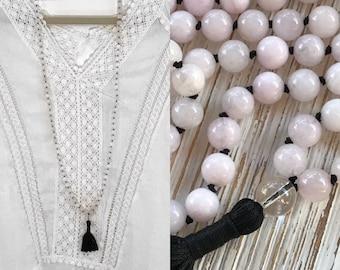 Mala beads, Mala necklace, Knotted Mala, prayer beads, pink Mala, Tassel necklace