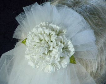 Bridal Veil White Ruffled Rose Tulle Glass Leaves