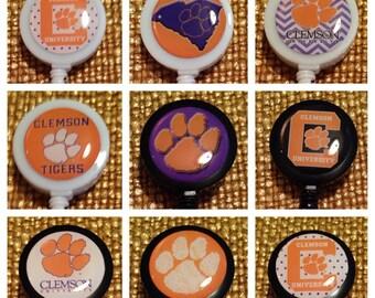 Clemson Tigers Football ID Badge Name Tag Holder Retractable Reel Perfect For Nurse, RN, CNA, Teacher, Billard Player, Sports