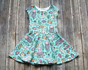 Ocean Dress. Under the Sea Dress. Toddler Dress. Little Girl Dress. Twirl Dress. Twirly Dress. Baby Dress. Sea Life Dress. Fish Dress.