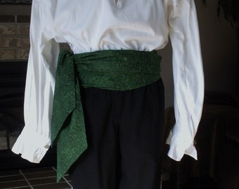 XL Pirate Sash, Dark Green, High QualityCotton.