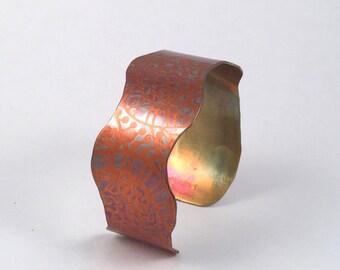 Cuff Bracelet, Copper Cuff, Copper Bracelet, Bohemian Cuff, Cuff Bracelet, Wavy Cuff, Copper Bangle, Rustic Bracelet, Boho Bracelet