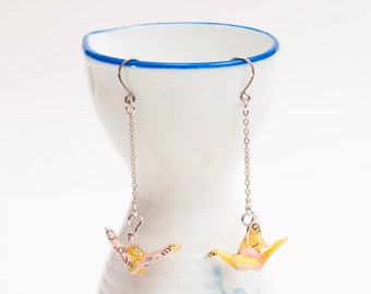 Origami earrings crane in yellow and pink recycled paper on thin silver chain eco-friendly jewelry