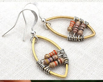 Statement Jewelry Wearable Technology Techie Jewelry Computer Earrings Petite Resistors Geometric Frame Earrings Electronic Eco Friendly