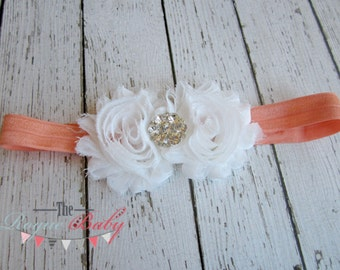Coral & White Headband with Diamond Rhinestone -  Vintage Shabby Chic Style - Newborn Infant Baby Toddler Girls Adult Wedding