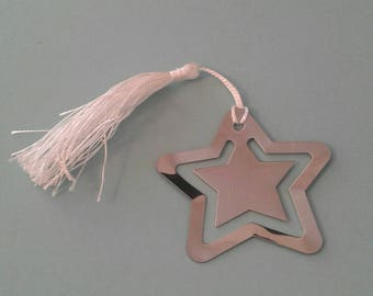 Star bookmark - silver coloured metal - white tassel - approx 6.5cm/2.6 inches x 6.5cm/2.6 inches - gift wrapped
