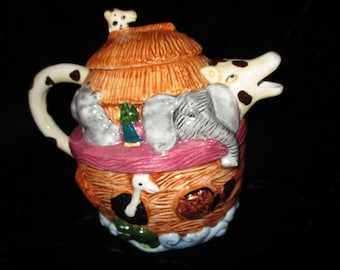 Teapot-Noah's Ark Teapot  - Animals & Noah -Giraffe- Elephant- Hippo- Pig - Horse and More  Young's Teapot-1996-Ceramic