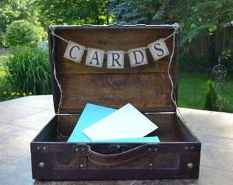 Cards Banner - Suitcase decoration - reception decoration - card banner - money box - wedding card box - rustic wedding - card banner