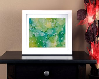 "Abstract Alcohol Ink Original Art Work ""Sea Glass"""