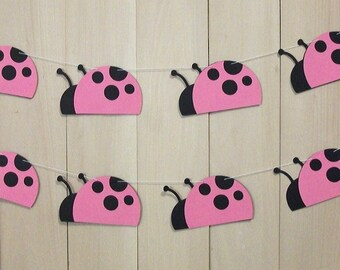 Ladybug party Garland, Paper party garland, Pink Ladybug garland, Ladybug decorations, Pink ladybug decorations, Little lady, Pink girl