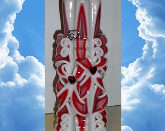 Valentine's day gift, Unique handmade gift candle, Hand Carved candles, 8.7 inch/ 22cm