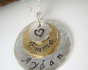 Mommy Jewelry, Name Pendant Necklace for Mom, Personalized Mothers Day Gift Jewelry, Mom Necklace, Silver, Gold, Stamped Jewelry