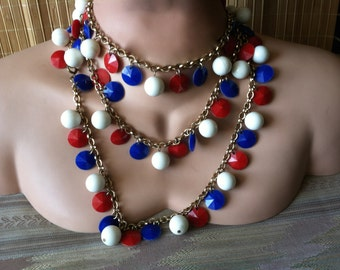 """Vintage 60's   """"RED WHITE & BLUE"""" Beaded Necklace Multi Colored Strand - Super Long Versatile Styles"""