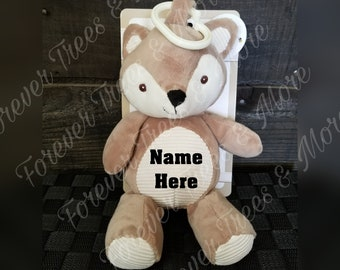 Personalized Baby Rattle Clip - Plush - Baby toy - Clip - Fox