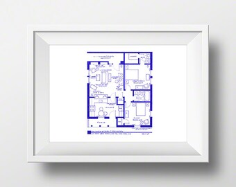 I Love Lucy - Ethel and Fred Mertz Apartment TV Show Layout - Blueprint Poster - Art Print - Home Decor - Wall Art - Unique Gift