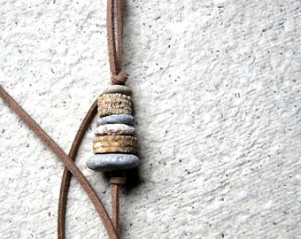Beach Stone and Crinoid Stem Cairn Necklace with Vegan Leather - natural jewelry
