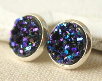 Druzy Earrings STUDS or CLIPS Purple Blue Druzy Earrings fake druzy Posts Titanium Druzy Jewelry Minimalist blue geode Faux druzy studs E161