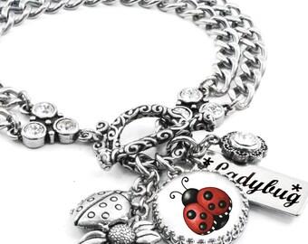Lucky Ladybug Charm Bracelet, Silver Ladybug Jewelry, Ladybug Bracelet, Bug Jewelry, Red Ladybug, Sunflower Charm