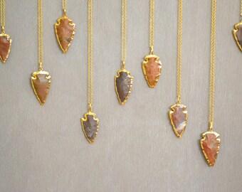 Arrowhead Necklace, Bohemian Necklaces, Jasper Arrowhead Necklace, Boho Jewelry, Long Gold Necklace, Brown Necklace, Gold Necklace