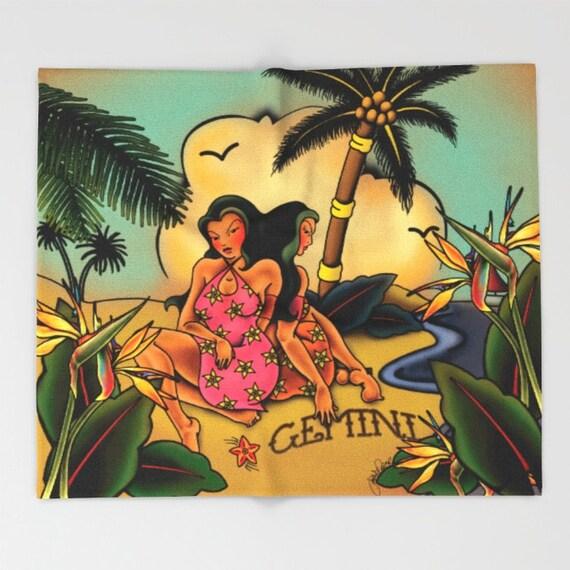 Zodiac Horoscope Tattoo Gemini Blanket