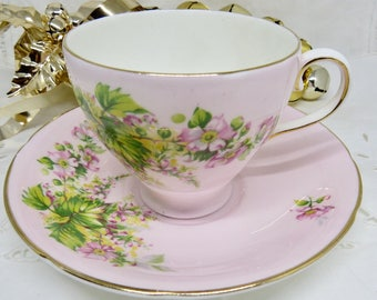 Old Royal Pink Tea Cup and Saucer, Wild Roses, Bone China