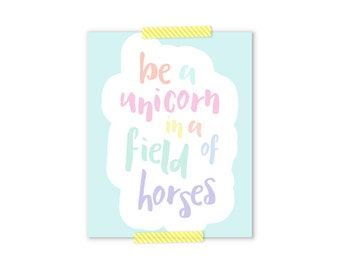 Inspirational Wall Art, Be A Unicorn, Pastel Nursery, Girly Gifts, Baby Shower Gift Girl, Aqua Nursery Decor, Pastel Rainbow, Girl Nursery