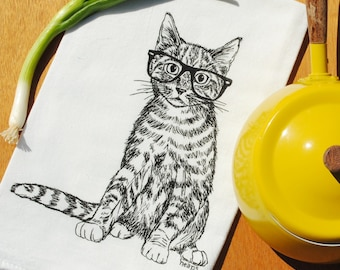 Cat Flour Sack Tea Towel - 100% Cotton Kitchen Towel - Screen Printed Dish Towel - Black Kitten - Cat Towel - Animal Towel
